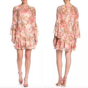 NEW Eliza J Floral Bell Sleeve Shift Dress Metalli